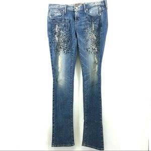 Guess distressed bling embellished jeans SZ 30